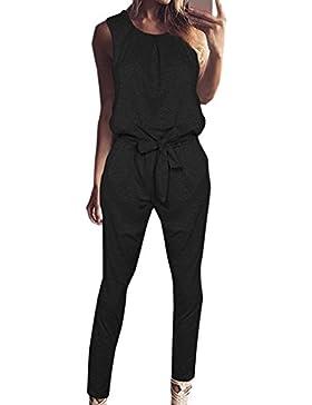 Verano Monos Mujeres Casual Cuello Redondo Sin Mangas Mamelucos Jumpsuits con Vendaje Moda Colores Lisos Slim...