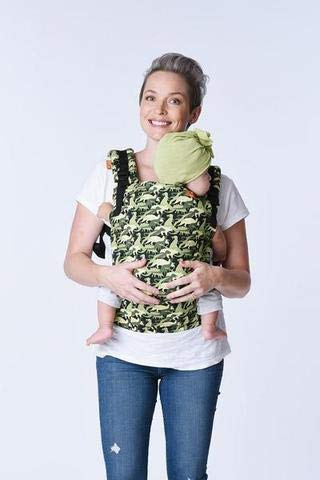 Baby Tula Free-to-Grow Baby Carrier, Adjustable Newborn to Toddler Carrier, Ergonomic and Multiple Positions for 7 - 45 pounds - Camosaur Tula INNOVATIVE BODY PANEL: adjusts in three width settings and two height settings to allow for an ergonomic snug position from newborn, infant and early toddlerhood. No infant insert needed! MULTIPLE ERGONOMIC POSITIONS: back carry and front carry options to provide a natural, ergonomic position best for long term, comfortable carrying that promotes healthy hip and spine development for baby DUAL-ADJUSTMENT PADDED STRAPS: provide optimal neck & shoulder comfort and offers quick and easy adjustments for multiple wearers 4