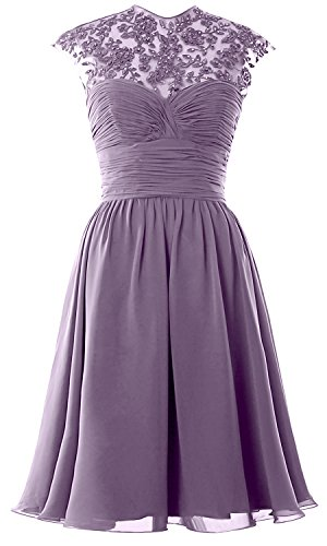 Women High Neck Cap Sleeve Lace Short Bridesmaid Dress Wedding Party Ball Gown Wisteria
