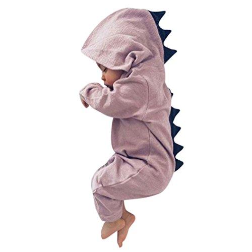 ASHOP Bebé Dinosaurio Hooded mameluco ropa Pijama Trajes de niños (Rosado, 6 Meses)