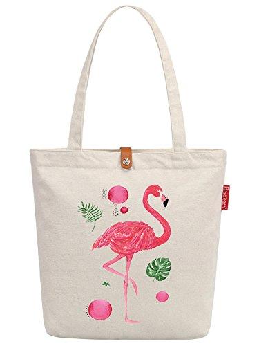 So'each Women's Animal Flamingo Graphic Top Handle Canvas Tote Shoulder Bag (Tote Canvas Tiger Bag)