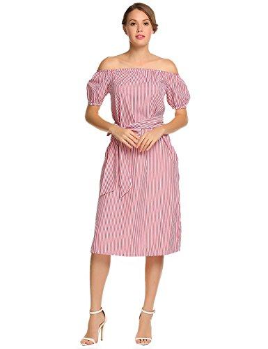 Meaneor Damen Schulterfreies Gestreiftes Kleid Kurzarm Midi Sommer Blusenkleid Cocktailkleid mit Gürtel