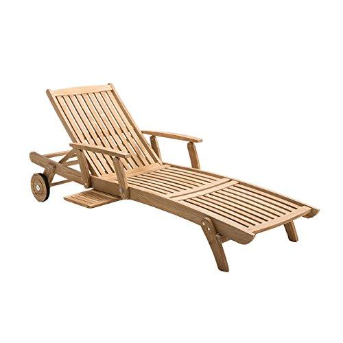 OUTLIV. Gartenliege Holz Hampton Sonnenliege Teakholz mit Armlehnen Holzliege