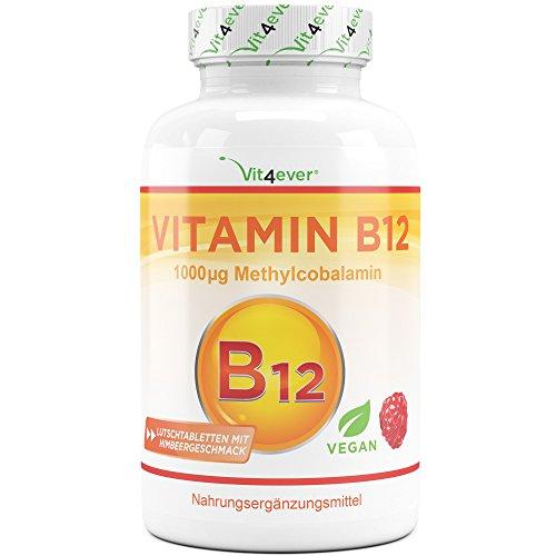 Vit4ever® Vitamin B12 1000 µg (mcg) - 240 Tabletten - Aktives B12 als Methylcobalamin - Methyl Lutschtabletten mit Himbeergeschmack - 8 Monatsvorrat - Laborgeprüft - Vegan - Hochdosiert -