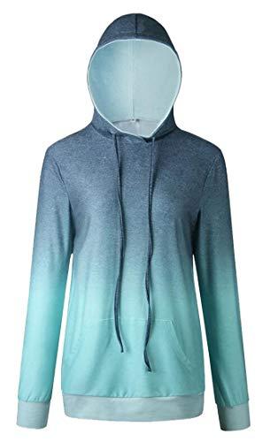 EKU Damen Kapuzenpullover mit Schneeflocken-Motiv, gepunktet, Elch Gr. Small, blau -
