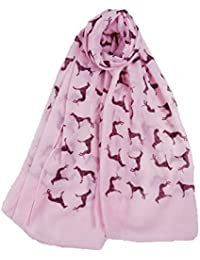Claudia & Jason® Womens Ladies Greyhound Dog Large Soft Cotton Wrap Scarf Choice of 7 Colours All Seasons