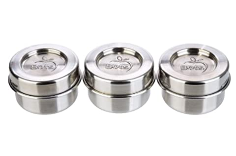 LunchBots Tiny Leak Proof Dips Condiment Containers, Set of 3 (44 ml) - Mini Condiment Cups Provide Perfect Portions – Spill Proof in Lunch Bags and Boxes - Premium Stainless Steel, Dishwasher Safe