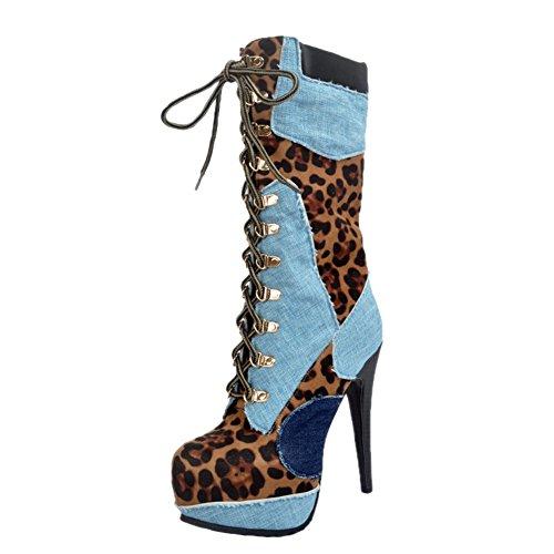 EKS Damen Rounde Sky Stiletto Fashion Plus Size Sexy Kleid-Party Straps Front Stiefel Blau