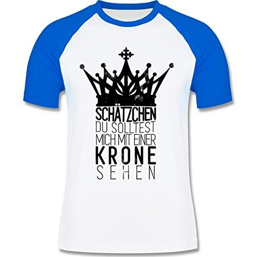 Shirtracer Statement Shirts - Du Solltest Mich mit Einer Krone Sehen - Herren Baseball Shirt Weiß/Royalblau