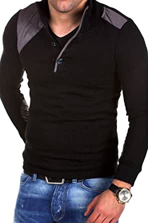 MT Styles - E-1146 - Pull camionneur contrasté - tricot fin - Noir - XXL