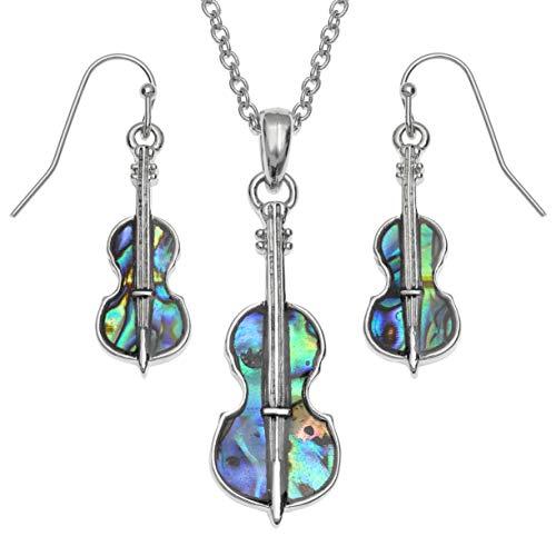 Juego de collar y pendientes para mujer con colgante de violín de Seashore Jewellery con incrustaciones de concha de abulón de origen sostenible en cadena hipoalergénica con caja de regalo