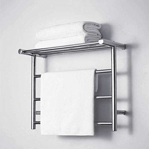 ALDD Elektrischer Handtuchwärmer mit oberem Regal aus gebürstetem Nickel | Effizienter 35W Handtuchwärmer für Badezimmer zur Wandmontage |,Hardwiring
