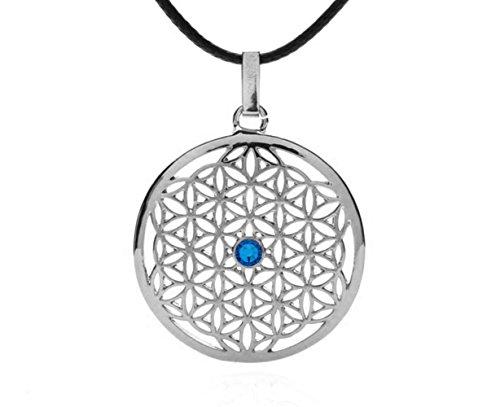 Silvity Damen Blume des Lebens Halskette mit Crystals from Swarovski® Kristalle 958901-P-20 (Silber Stein: Blau)