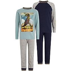 next Niños Pack De Dos Pantalones De Pijama Con Dinosaurios Y Estampado Geométrico (3-14 Años) Gris/Azul Marino 7 años