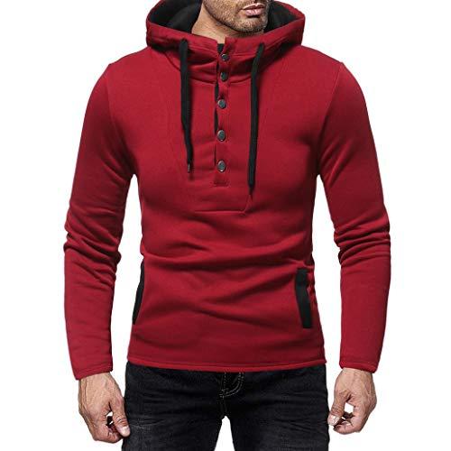 (Sannysis Herren Langarm Herbst und Winter Button Cap Lässige Anzüge Sweatshirt Bluse Top)
