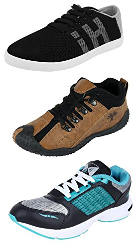 Chevit Men's Combo Pack of 3 Loafers, Sneakers & Running Shoes (Casual...