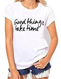 Mujer Camisa, CICIYONER Camisa de manga corta de la camiseta de la manga de la camiseta de la impresión de la letra del tamaño extra grande