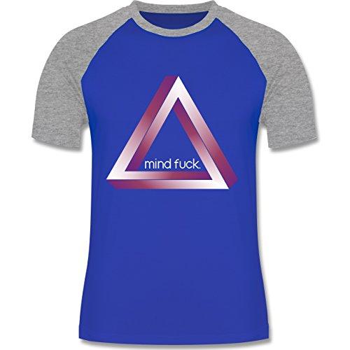 Nerds & Geeks - Tribar - Mind fuck - zweifarbiges Baseballshirt für Männer Royalblau/Grau meliert