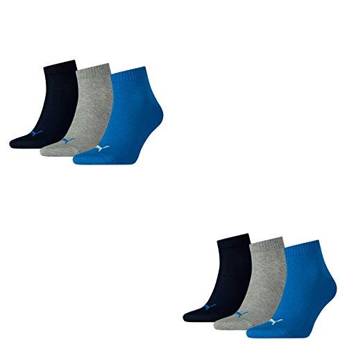 6 Paar Puma Unisex Quarter Socken Sneaker Gr. 35 - 49 für Damen Herren Füßlinge, Socken & Strümpfe:39-42, Farbe:277 - blue / grey mélange