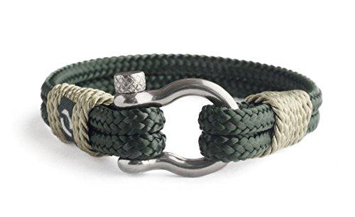 Hochqualitatives Seilarmband Männer mit Edelstahl-Silber-Verschluss nautisches Armband für Männer Geschenk für ihn extrem langlebiges und kratzfestes Material Geburtstag