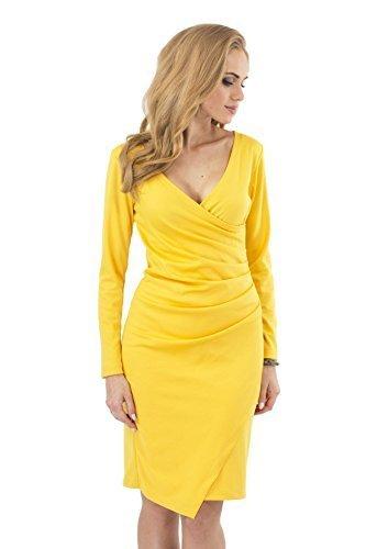 Futuro Fashion Sehr Elegant Wiggle-Dress V-Ausschnitt Stift Party Formell FA222 Gelb