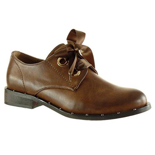 Angkorly Damen Schuhe Derby-Schuh - Schnürsenkel Aus Satin - Nieten - Besetzt Blockabsatz 3 cm Camel