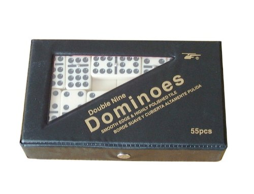 Dominoes Double Nine Ivory Tiles with Spinners - Black Case TM @ Chabrias Ltd