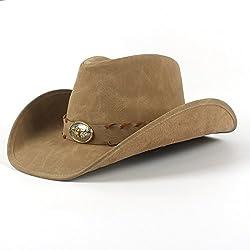 GR Roll Up Brim Dad Sombrero de Cuero Hombres Western Cowboy Hat with Hombre Caps (Color : Khkai, tamaño : 58-59CM)