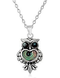 EYS JEWELRY® Damen-Halskette Eule 22 x 13 mm Abalone Paua Muschel 925 Sterling Silber grün-blau türkis im Etui Damenkette Anhänger