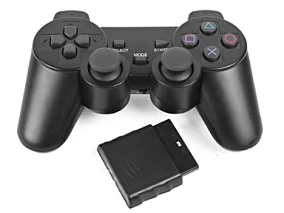 Black 2.4GHz Wireless Shock Game Controller for Sony PS2