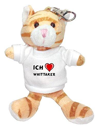 plsch-braun-katze-schlsselhalter-mit-t-shirt-mit-aufschrift-ich-liebe-whittaker-vorname-zuname-spitz
