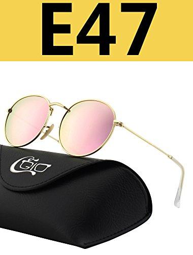 CGID E47 Petites lunettes de soleil polarisées inspirées du style retro vintage Lennon en cercle métallique rond tE44GF