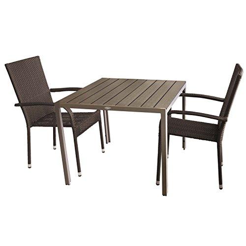 3tlg Gartengarnitur Gartentisch Polywood 90x90cm 2x Polyrattan