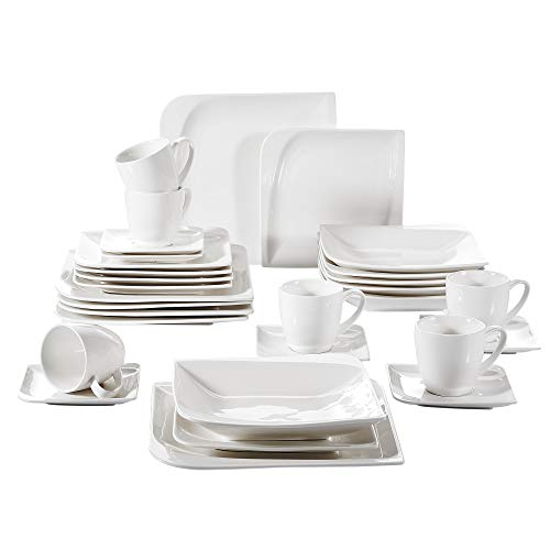 vancasso Cloris 30-teilig Porzellan Tafelservice Weiß, Eckiges Geschirrset, mit je 6 Kaffeetassen,...