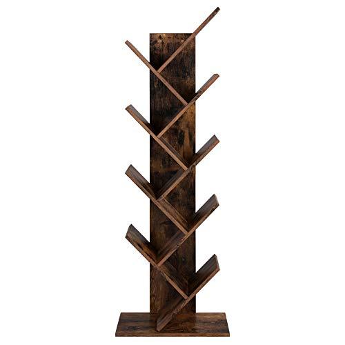 VASAGLE Bücherregal, Standregal mit 8 Ebenen, in Baumform, aus Holz, für Wohnzimmer, Home Office und Büro, Vintage, Dunkelbraun LBC11BX -