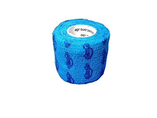 andage 2er-Set - selbsthaftend, elastisch, 5cm breit für Mensch & Tier - Fixierbinde für Sport Arbeit Reiten - Auto blau ()