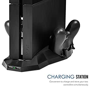 [Best Cooling Station System] Zolion PS4 PlayStation 4 Charging and Cooling Stand, Vertical Stand Charging Dock Station with Dual Cooler Fan, 2 Charger Ports and 2 USB Ports for Gaming PS4 Console Dualshock Controllers