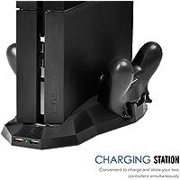[Miglior raffreddamento stazione Sistema] Zolion PS4 PlayStation 4 ricarica e stand di raffreddamento,Supporto verticale di ricarica Dock Station con doppio dispositivo di raffreddamento del ventilatore, 2 porte caricabatterie e 2 porte USB per il gioco PS4 console Dualshock controllori