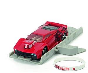 Transformers - Vehiculo Sideswipe con rampa, Color Rojo, 11 cm (Dickie 3112002)