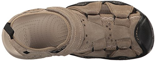 crocs Mens Swiftwater Suede M Fisherman Sandal Khaki/Cobblestone