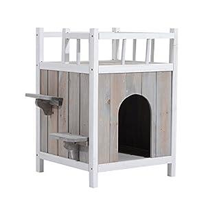 Maisonnette niche villa pour chat/chien deux étages avec deux marches et une terrasse bois massif 45L x 45l x 65Hcm gris blanc neuf 74