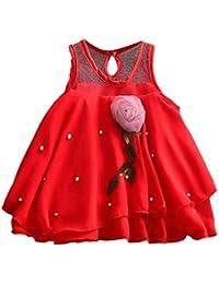 Mitlfuny Invierno Niñas Primavera Tutú Princesa Vestido de Sin Manga Flor Gasa de Malla Cosiendo Volantes Bautizo Faldas de…