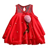 YWLINK MäDchen Sommer Mesh ÄRmellos 3D BlüTenblatt Kleid Volltonfarbe TüLlrock Blumenkleider Kleinkind Prinzessinenkleid Party Jeden Tag Kleid(Rot,3-6 Monate)