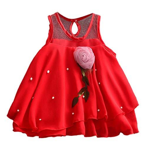 KIMODO Kleinkind Baby Mädchen Kleid Einfarbig Blumen Drucken Kleider Ärmellos Tüll Tütü Urlaub Prinzessin Sommerkleid Outfit Kleidung