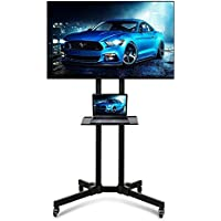 """Popamazing 32""""-65"""" Universal TV Carts Stand with Wheels Mobile TV Trolley Floor Stand with Mount for LED/LCD /Plasma Flat Screen,Height Adjustable"""