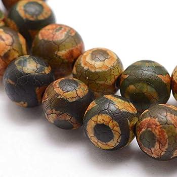 Tibet DZI Achat Buddha Perlen 8mm Natur Effloresce