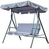 Outsunny Balancelle balançoire banc fauteuil de jardin acier 3 places 1.75 x 1.1 x 1.55m (gris)