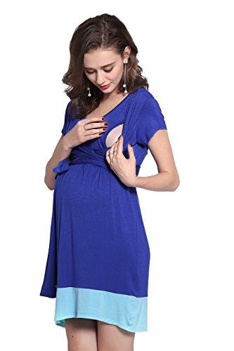 Dance Fairy molliya Umstands-/Stillkleid Wrap Baby Dusche Kleid mit verstellbarem Gürtel L Royal Blue+Light Blue