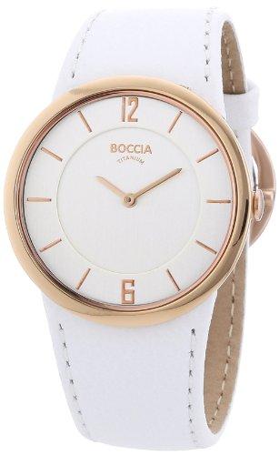 Boccia Ladies Titanium White Leather Strap Watch B3161-02