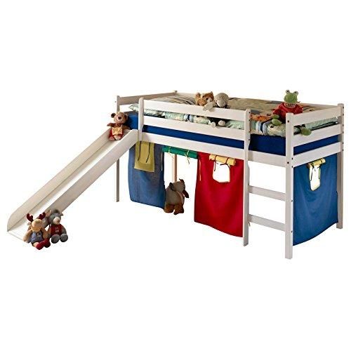 Rutschbett Abenteuerbett Stockbett Hochbett mit Rutsche Kinderbett LARS mit Vorhangset - Kiefer massiv weiß lackiert